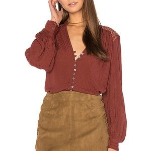 Free People Canyon Rose Button Down Top In Red
